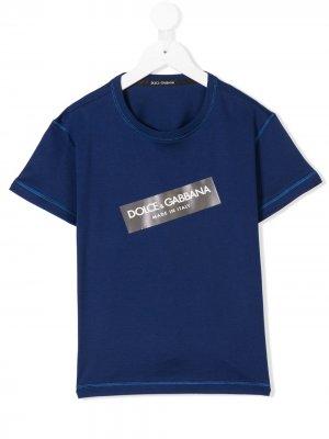 Футболка с заплаткой логотипом Dolce & Gabbana Kids. Цвет: синий
