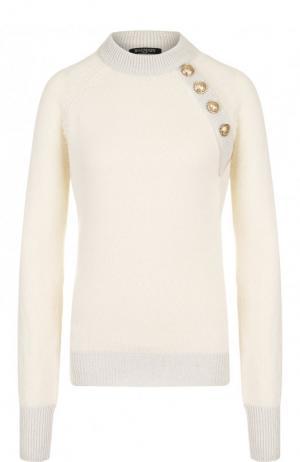 Пуловер из смеси шерсти и кашемира с декоративными пуговицами Balmain. Цвет: кремовый