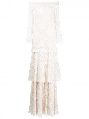 Свадебное платье Corbin с рукавами-колокол Tadashi Shoji. Цвет: белый