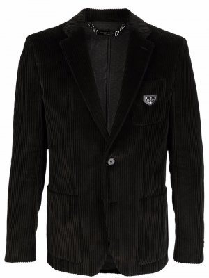 Однобортный вельветовый пиджак Philipp Plein. Цвет: черный
