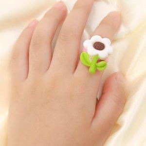 Открытое кольцо с цветочным декором для девочек SHEIN. Цвет: многоцветный