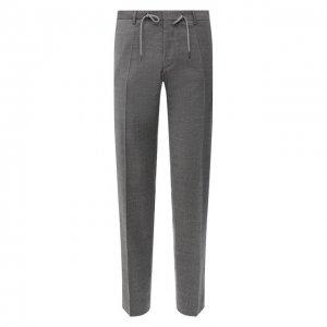 Хлопковые брюки BOSS. Цвет: серый