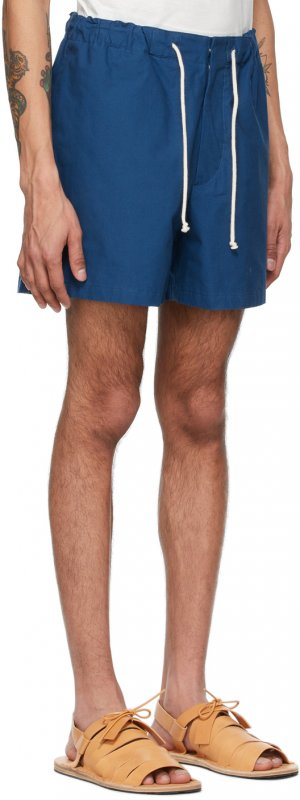 Blue Textured Cotton Shorts Jil Sander. Цвет: 420 cobalt