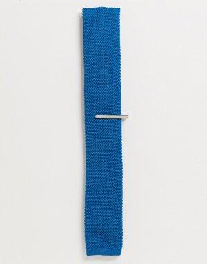 Однотонный трикотажный галстук и зажим для галстука -Синий Ben Sherman