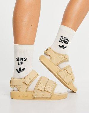 Бежевые сандалии Adilette-Светло-бежевый adidas Originals