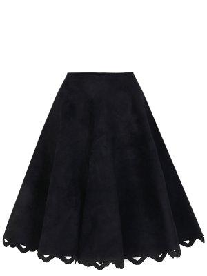 Юбка-миди расклешенная ALAIA. Цвет: черный