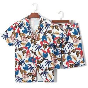 Мужская рубашка и шорты с тропическим принтом SHEIN. Цвет: многоцветный