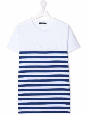 TEEN striped cotton T-shirt Balmain Kids. Цвет: белый