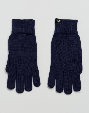 Темно-синие перчатки из мериносовой шерсти PS Paul Smith. Цвет: темно-синий