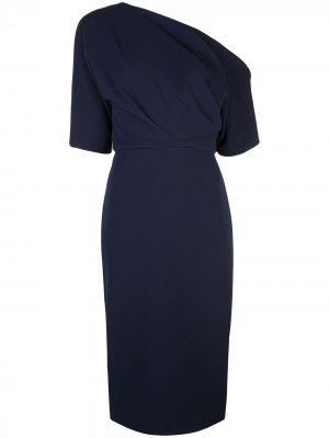 Приталенное платье на одно плечо Badgley Mischka. Цвет: синий