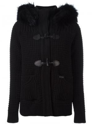 Пальто с меховым воротником Bark. Цвет: чёрный
