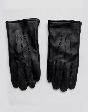 Черные кожаные перчатки для сенсорных экранов -Черный цвет ASOS DESIGN