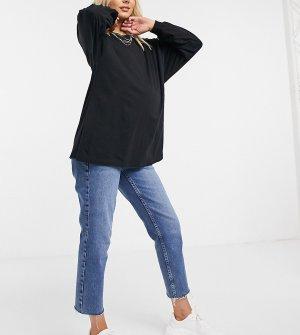 Черная oversized-рубашка с длинными рукавами ASOS DESIGN Maternity-Черный Maternity