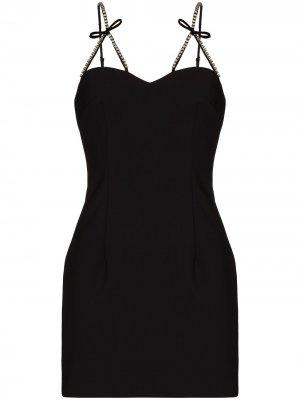 Платье мини с кристаллами AREA. Цвет: черный