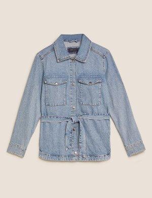 Джинсовая куртка в стиле милитари с поясом M&S Collection. Цвет: светлый индиго