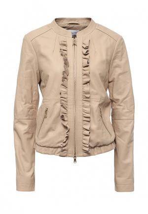 Куртка кожаная Patrizia Pepe PA748EWPAF27. Цвет: бежевый