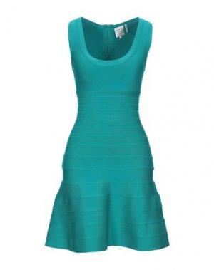 Короткое платье HERVÉ LÉGER. Цвет: цвет морской волны