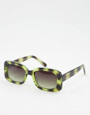 Круглые солнцезащитные очки в зеленой черепаховой оправе стиле унисекс Salo-Зеленый цвет A.Kjaerbede