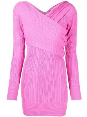 Короткое платье в рубчик с длинными рукавами Hervé Léger. Цвет: розовый