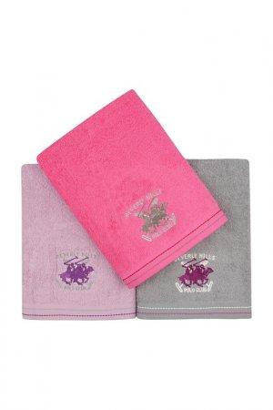 Bath Towel Set, 3 Pieces Beverly Hills Polo Club. Цвет: fuchsia, lilac, grey