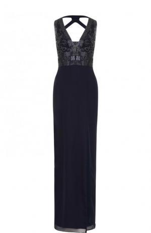 Платье в пол с контрастной вышивкой и высоким разрезом Basix Black Label. Цвет: темно-синий