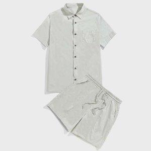 Мужской с краманом на пуговицах Рубашка & кулиске Шорты SHEIN. Цвет: мятно-зеленый