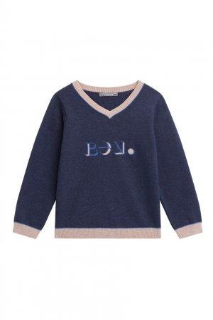 Синий пуловер с контрастной отделкой Bonpoint. Цвет: синий