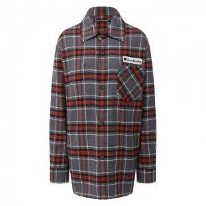 Хлопковая рубашка Acne Studios. Цвет: серый