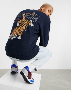 Oversized-свитшот с крупным принтом в виде тигра на спине -Темно-синий ASOS DESIGN