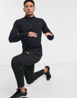 Спортивный облегающий свитшот на молнии 1/4 -Черный цвет ASOS 4505