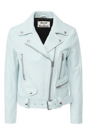 Однотонная кожаная куртка с косой молнией Acne Studios. Цвет: светло-голубой