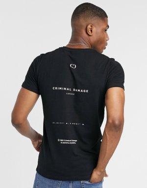 Черная футболка с принтом на спине -Черный Criminal Damage