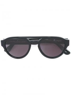 Солнцезащитные очки со смайликами Italia Independent. Цвет: чёрный