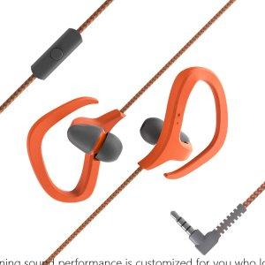 Гарнитура спортивный проводной в ухе SHEIN. Цвет: оранжевый