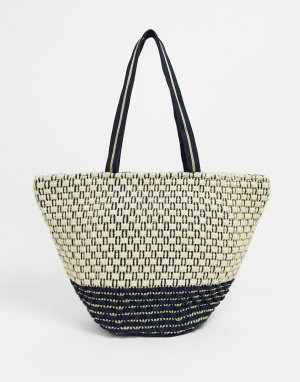 Плетеная пляжная сумка-тоут -Мульти America & Beyond
