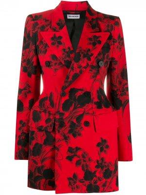 Жаккардовый блейзер с цветочным узором Balenciaga. Цвет: красный
