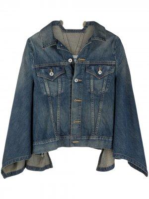 Джинсовая куртка с кейпом Junya Watanabe. Цвет: синий
