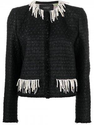 Твидовый пиджак с бахромой Giambattista Valli. Цвет: черный