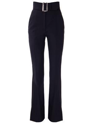 Расклешенные брюки с поясом PRADA. Цвет: черный
