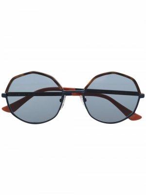 Солнцезащитные очки в геометричной оправе Marni Eyewear. Цвет: синий