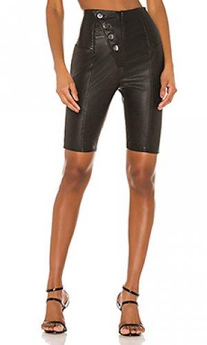 Кожаные байкерские шорты mila Camila Coelho. Цвет: черный