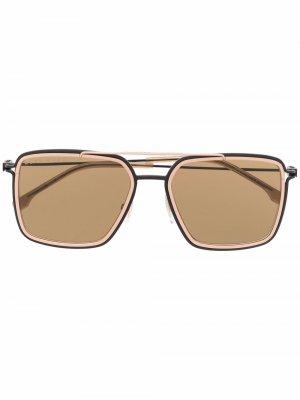 Солнцезащитные очки-авиаторы Boss Hugo. Цвет: коричневый