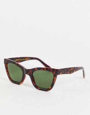 Солнцезащитные oversized-очки «кошачий глаз» в стиле унисекс с плавным переходом коричневой черепаховой оправе Big Kanye-Коричневый цвет A.Kjaerbede