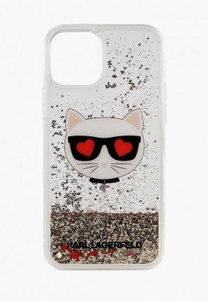 Чехол для iPhone Karl Lagerfeld 12 Pro Max (6.7), Liquid glitter Choupettes head Gold. Цвет: прозрачный