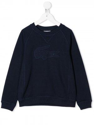 Толстовка с круглым вырезом и логотипом Lacoste Kids. Цвет: синий