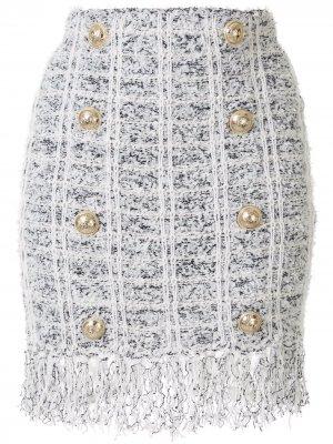 Двубортная юбка букле длины мини Balmain. Цвет: белый