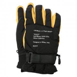Комбинированные перчатки Off-White. Цвет: жёлтый