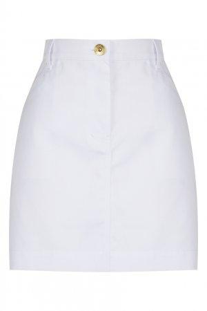 Юбка мини из белого денима LAROOM. Цвет: белый
