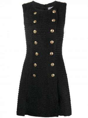 Sleeveless bouclé mini dress Versace Jeans Couture. Цвет: черный