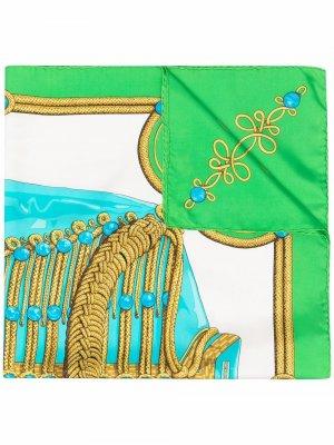 Платок Brandebourgs pre-owned 1991-го года Hermès. Цвет: зеленый